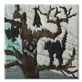 Quilt block of a spooky tree giving a black cat quite a fright, with a large moon behind