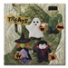 Quilt block of best ghoul friends forever Frank, Spooky, Fangs, and Wanda out trick or treating with pumpkin shaped candy buckets