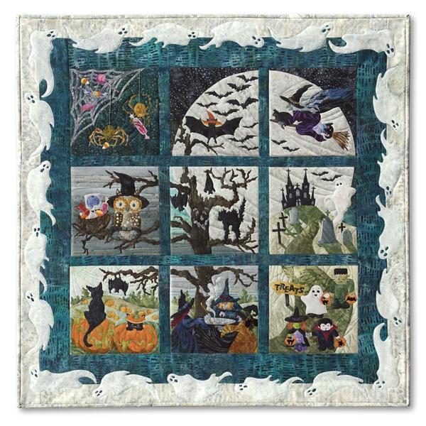Full Halloweenies quilt shows witches, bats, birds, spiders, little monsters, and spooky trees celebrating the best night of the year underneath a full moon