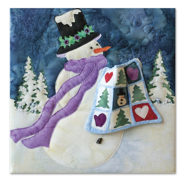 Quilt block of a snowman bringing a quilt for show and tell