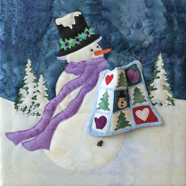 Art print of a snowman bringing a quilt for show and tell