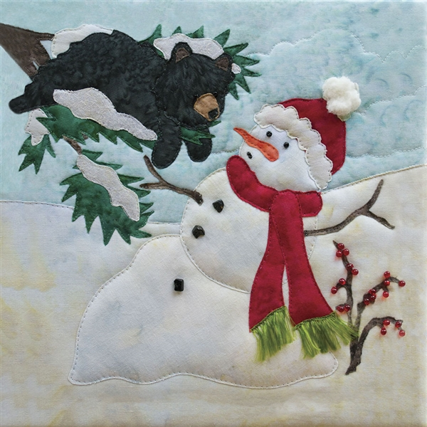 Art print of a snowman melting on a bright day, with a bear in a tree.