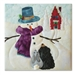 Quilt block of a snowman telling a riveting tale to a bunny and a bear cub, with a schoolhouse decorated for the holidays visible in the background