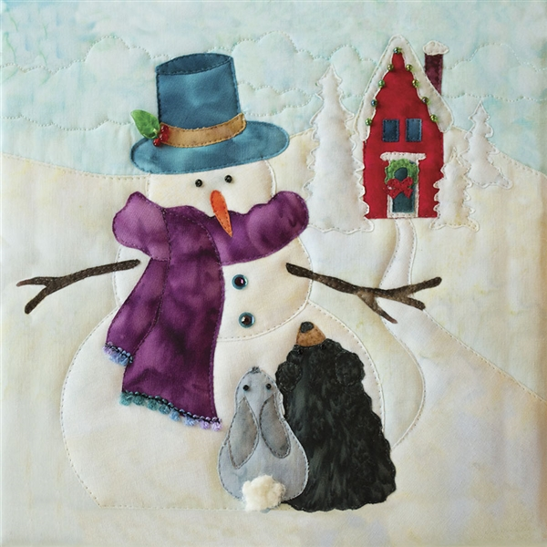 Art Print of a snowman telling a riveting tale to a bunny and a bear cub, with a schoolhouse decorated for the holidays visible in the background.
