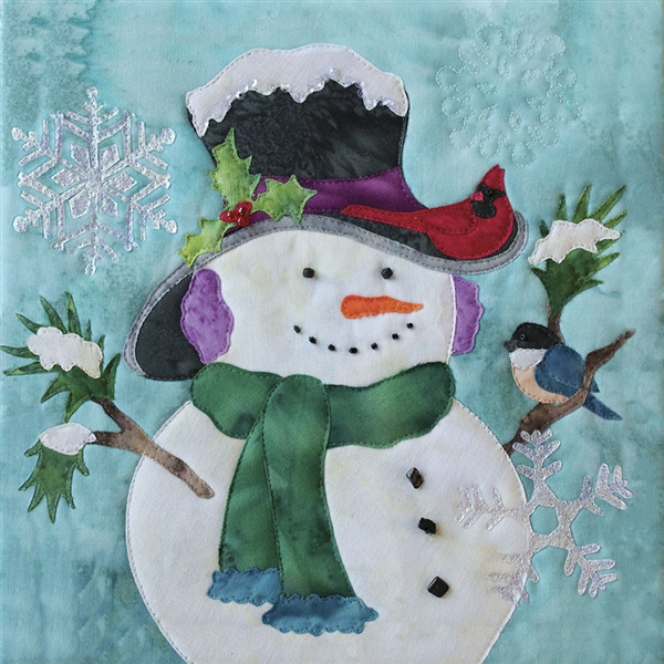 Art Print of a smiling snowman wearing a hat and scarf, while a cardinal and a blue bird perch on him.