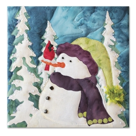Quilt block of a curious snowman in a jazzy hat trying to figure out why a cardinal has perched on his nose
