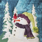 Art Print of a curious snowman in a jazzy hat trying to figure out why a cardinal has perched on his nose.
