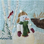Art Print of a snowman making friends with a elk calf.