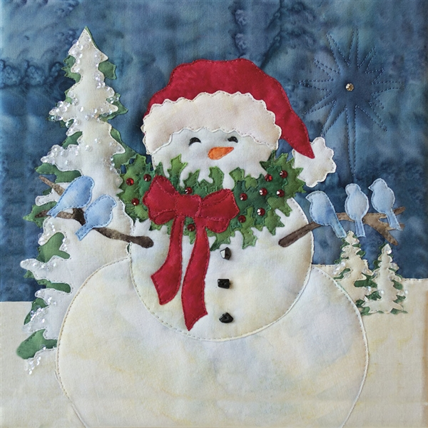 Art Print of a snowman caroling with armfuls of blue birds.