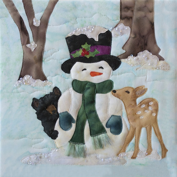 Art Print of a bear cub and a fawn cuddling with a snowman during the chilly first frost.