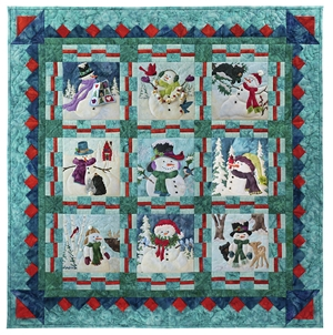 Full quilt image of all nine silly snowmen and their friends, with a beautiful prairie point pieced border in SugarPlum fabrics.