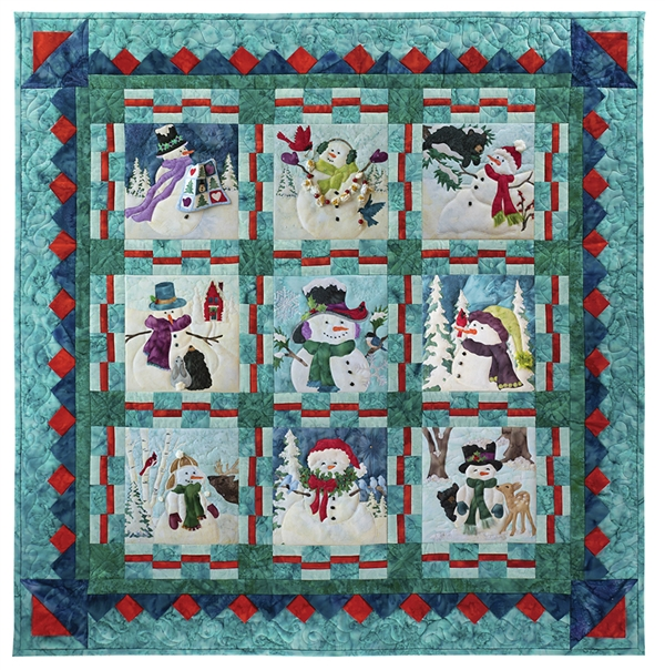 Full quilt image of all nine silly snowmen and their friends, with a beautiful prairie point pieced border.