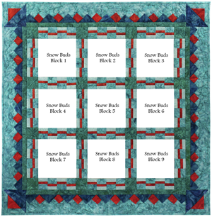 Full quilt kit to piece all nine snowmen and their friends, with a beautiful prairie point pieced border.