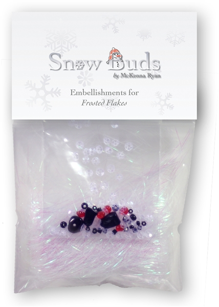 Snow Bud block five embellishment kit with beads and Angelina Fibers