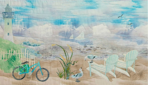 Art panel of two adirondack chairs on the beach, bicycle leaning on a white picket fence and a path leading up to the lighthouse that overlooks the ocean.