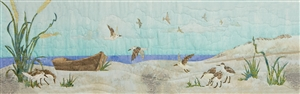 Art print of an empty boat on the beach, with sandpipers circling and looking for food.
