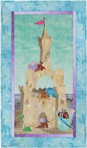 Quilt block of a grand sand castle, newly inhabited by hermit crabs.