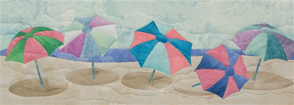 Art print of brightly-colored beach umbrellas.