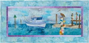 Quilt block of a fishing boat coming in to dock at the end of the day, supervised by a pelican.