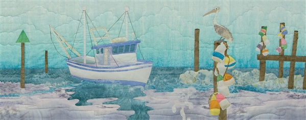 Art print of a fishing boat coming in to dock at the end of the day, supervised by a pelican.