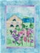 Quilt block of summer house that overlooks the bay, with cheerful pink and purple hollyhock flowers in the front yard.