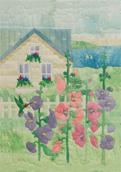 Art print of summer house that overlooks the bay, with cheerful pink and purple hollyhock flowers in the front yard.