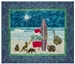 Quilt block of Santa on the beach with his surfboard, ready to ride the waves under the north star, with his Australian animal friends.