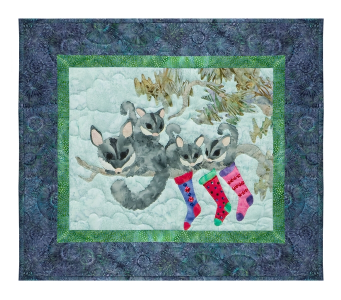Quilt block of a family of sugar gliders hanging their stockings on the tree with care.