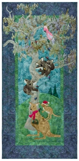 Quilt block of kangaroos, koalas, and a cockatoo decorating a gum tree with lights.