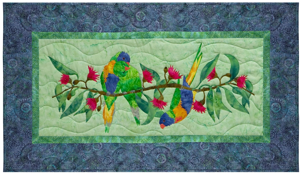 Quilt block of three Australian parrots on a Alberys Red Christmas Bush.