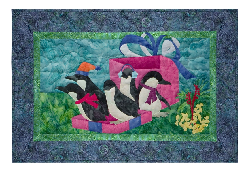 Quilt block of five penguins visiting the outback for Christmas, tumbling out of a present box.
