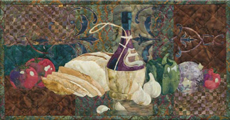 Italian style quilt block, showing a bottle of red wine, as well as the makings of a delicious bruschetta, with crusty bread, tomatoes, garlic, onion, and bell peppers