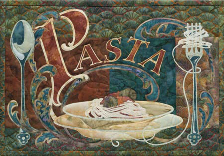 Italian style quilt block celebrating pasta, with a bowl of spaghetti and meatballs, as well as a spoon and a fork with noodles wrapped around it
