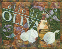 Italian style quilt block celebrates delicious olive oil with a big bottle, and some beautiful bulbs of garlic