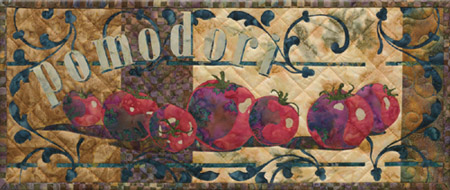 Italian style quilt block celebrating delicious, ripe, red, tomatoes
