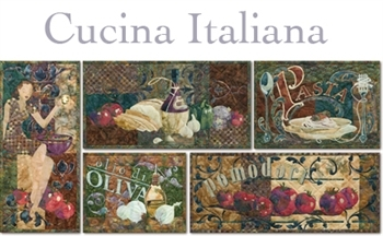 The five Italian kitchen-inspired quilt blocks come together like a fine meal
