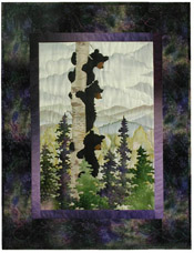 Quilt block of three mischievous black bear cubs climbing a birch tree to get a better view.