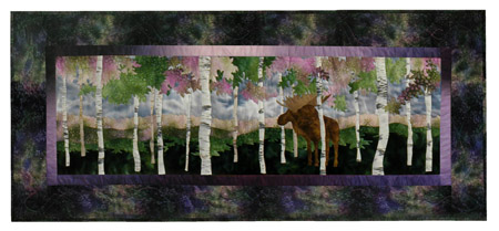 Quilt block of a bull moose jealously, peacefully, guarding his grove of birch trees.