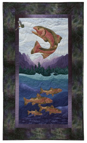 Quilt block of a rainbow trout leaping to catch a fly, as his smarter school swims safely underneath.