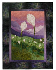 Quilt block of lovely white bear grass on a hillside, yearning up towards the sun.