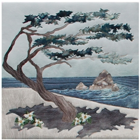 Quilt block showing a Monterey Cyprus tree on the beach being shaped by ocean winds.