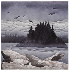 Quilt block of a dark, foggy, perfect day on the beach, with driftwood logs, birds flying, and an island covered in dark pine trees in the mist.