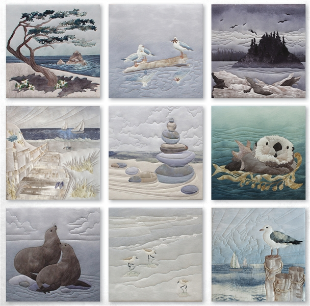 Image of nine coastal themed quilt blocks.
