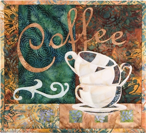 "Quilt block that shows three empty coffee mugs stacked, with the word ""Coffee"" above in elegant script."