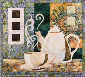 Quilt block of a beautiful coffee pot next to a steaming, fresh cup of coffee.