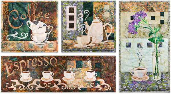 All four blocks of Coffee Classics are grouped together, showing coffee cups in a range of colors from cafe au lait to dark espresso, and from cream to lavender.