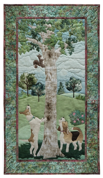 Quilt block showing a hound and a terrier treeing a squirrel.