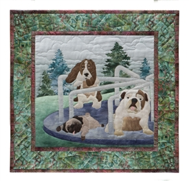 Quilt block of a pug, a bull dog, and a basset hound getting dizzy on the merry-go-round.