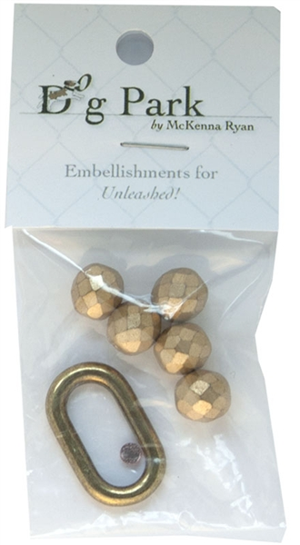 Embellishment kit with beads and dog tag hardware