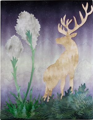 A lone Elk in silhouette with blooming beargrass in the foreground
